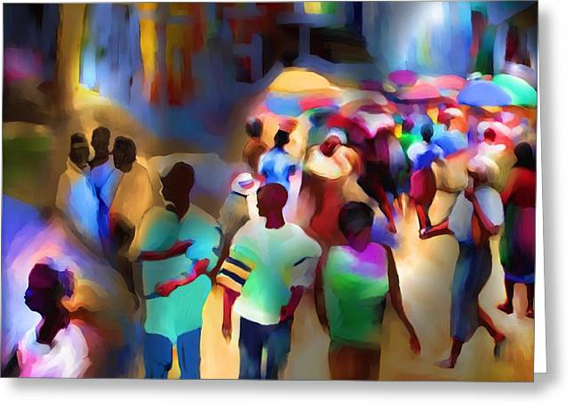African-american Greeting Cards - Marketplace At Night Cap Haitien Greeting Card by Bob Salo