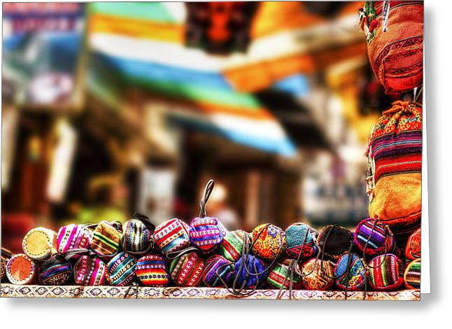 Spanish Market Greeting Cards - Marketplace Greeting Card by Stuart Deacon