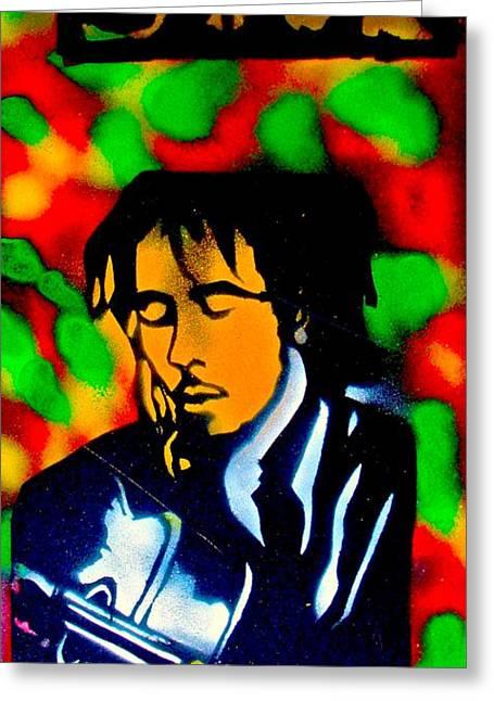 First Amendment Greeting Cards - Marley Rasta Guitar Greeting Card by Tony B Conscious