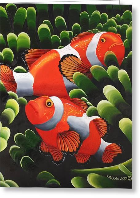 Sea Anenome Greeting Cards - Marlin and Nemo Greeting Card by Rehana Farooqi