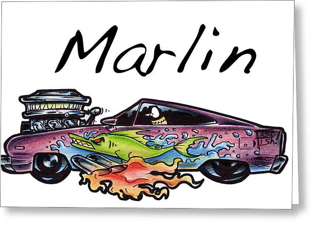 Iroatethis Drawings Greeting Cards - Marlin Greeting Card by Big Mike Roate