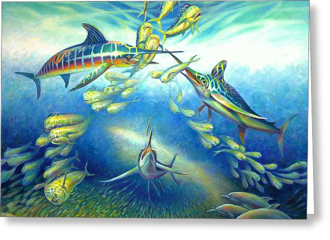 Frenzy Greeting Cards - Marlin Frenzy Greeting Card by Nancy Tilles