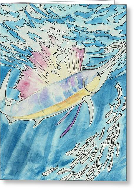 Marlin Greeting Card by Jenn Cunningham
