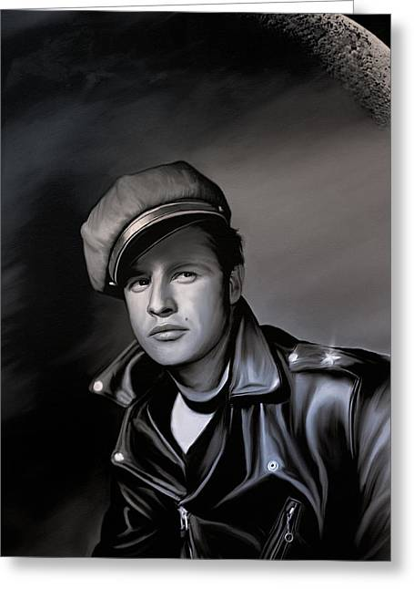 Cinema Pyrography Greeting Cards - Marlon Brando  Greeting Card by Andrzej Szczerski