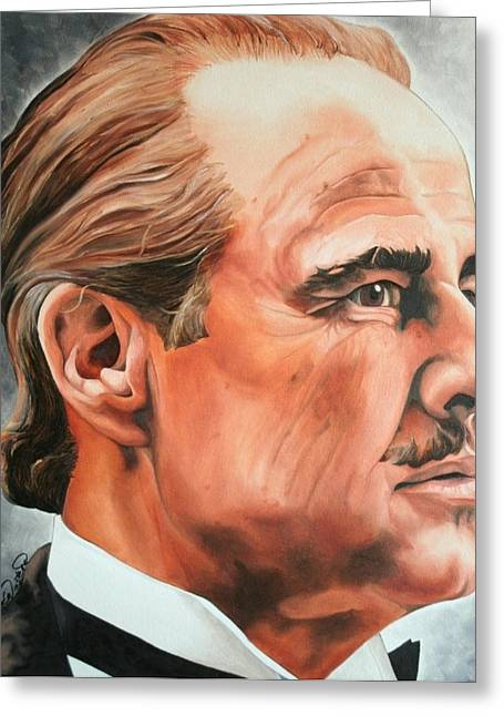 Portraits By Timothe Greeting Cards - Marlon Brando Greeting Card by Timothe Winstead