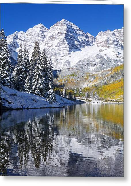 Location Art Greeting Cards - Maroon Lake and Bells 2 Greeting Card by Ron Dahlquist - Printscapes