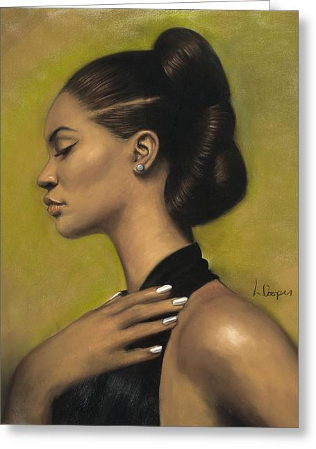 Figure Study Pastels Greeting Cards - Marquita Greeting Card by L Cooper