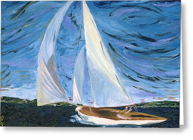 Sailboat Greeting Cards - Marraige Greeting Card by Impressionism Modern and Contemporary Art  By Gregory A Page