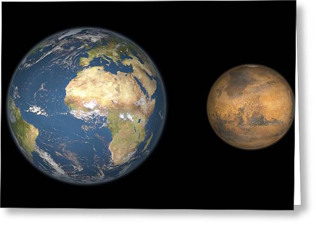 Mars Black Greeting Cards - Mars And Earth Compared, Artwork Greeting Card by Walter Myers