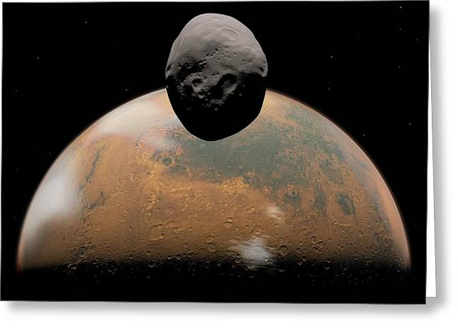 Phobos Greeting Cards - Mars And Phobos, Artwork Greeting Card by Walter Myers