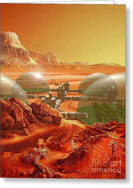 Planet Mars Greeting Cards - Mars Colony Greeting Card by Don Dixon