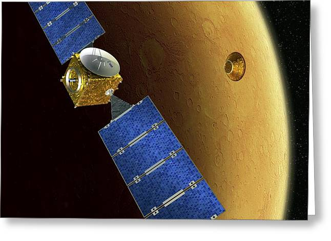 Beagle Artwork Greeting Cards - Mars Express And Beagle 2, Artwork Greeting Card by David Ducros