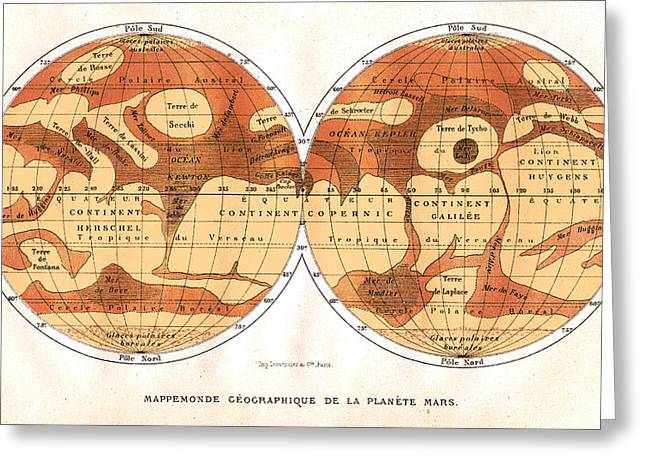 Cartographical Greeting Cards - Mars Map From 1881 Greeting Card by Detlev Van Ravenswaay