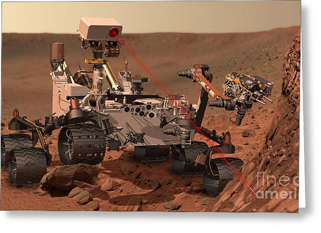Mars Science Laboratory Greeting Cards - Mars Rover Firing Laser Greeting Card by NASA/Science Source