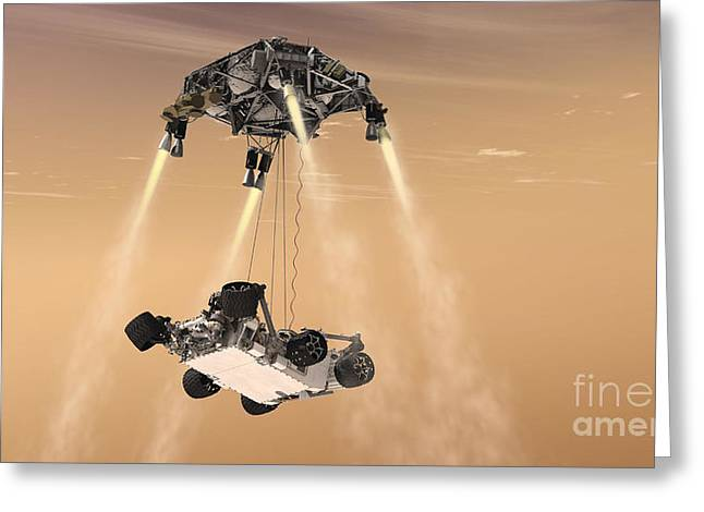 Mars Science Laboratory Greeting Cards - Mars Science Laboratory Descending Greeting Card by NASA/Science Source
