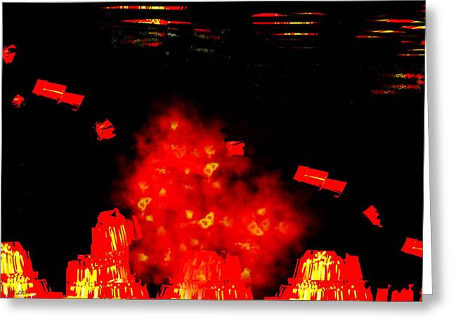 Mars Space Junk Mishap Greeting Card by Steamy Raimon