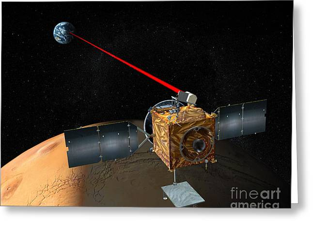 Laser Beam Greeting Cards - Mars Telecommunications Orbiter Greeting Card by Stocktrek Images