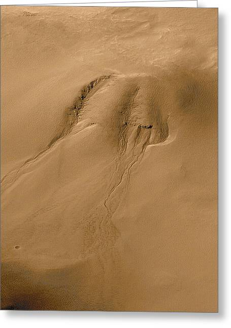 Planet Mars Greeting Cards - Mars Water Erosion Greeting Card by Nasa