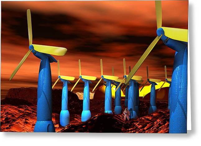Energy Efficiency Greeting Cards - Mars Wind Turbines Greeting Card by Victor Habbick Visions