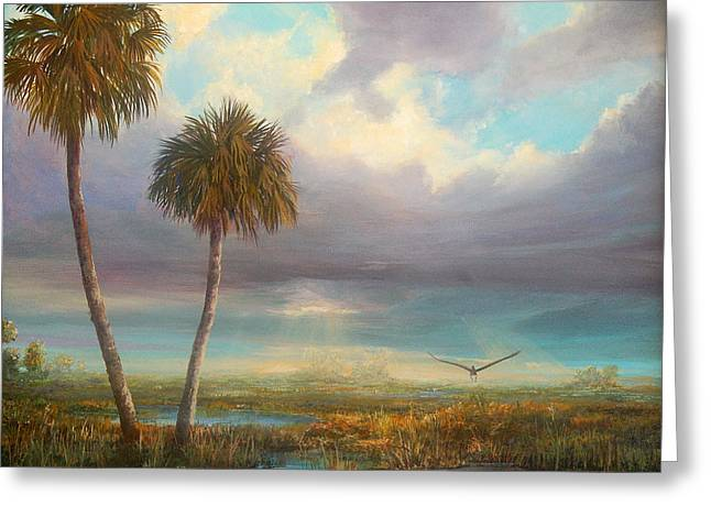 Sun Rays Paintings Greeting Cards - Marsh Launch Greeting Card by AnnaJo Vahle