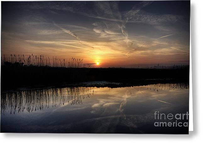 Marsh Sunset Greeting Card by Lee-Anne Rafferty-Evans