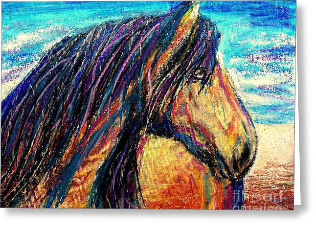 On The Beach Pastels Greeting Cards - Marsh Tacky Wild Horse Greeting Card by Patricia L Davidson