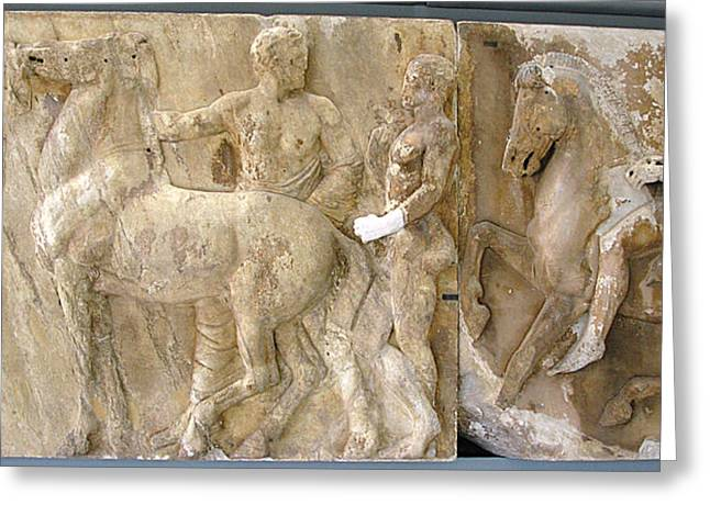 Greek Friezes Greeting Cards - Marshal and horsemen Greeting Card by Andonis Katanos