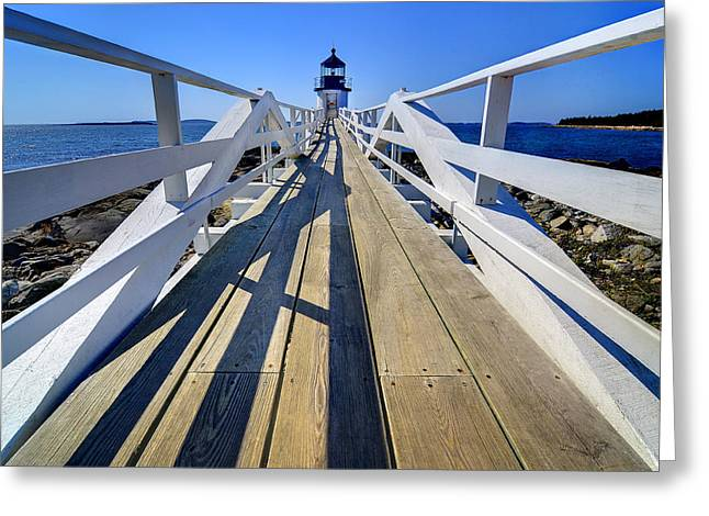 Maine Lighthouses Greeting Cards - Marshal Point Lighthouse Walkway Greeting Card by Jack Daulton