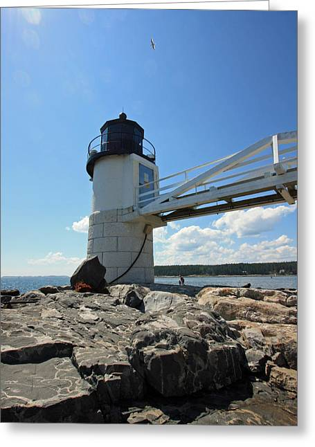 Maine Lighthouses Greeting Cards - Marshall Point Light Greeting Card by Becca Brann