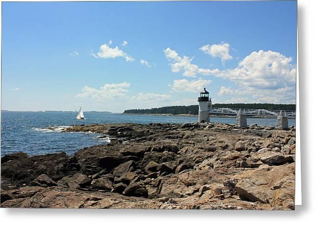 Maine Lighthouses Greeting Cards - Marshall Point Lighthouse Greeting Card by Becca Brann