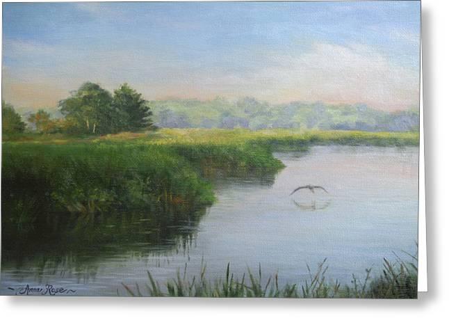 Morning Mist Greeting Cards - Marshland Summer Morning Greeting Card by Anna Bain