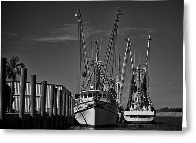 Apalachicola Shrimper Greeting Cards - Martha and Louise At Rest Greeting Card by Frank Feliciano