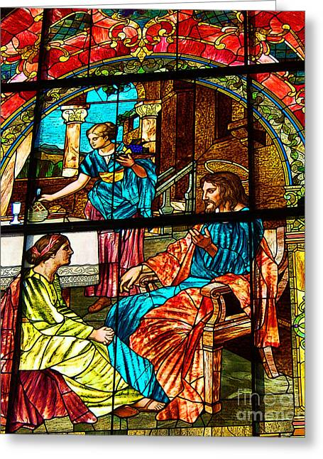 Jesus Teaching Greeting Cards - Martha and Mary Greeting Card by Diane E Berry
