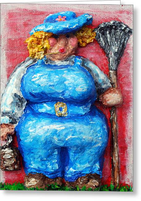 Overalls Reliefs Greeting Cards - Martha in the Garden Greeting Card by Alison  Galvan
