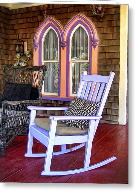 Rocking Chairs Digital Art Greeting Cards - Marthas Rocking Chair Greeting Card by Tammy Wetzel