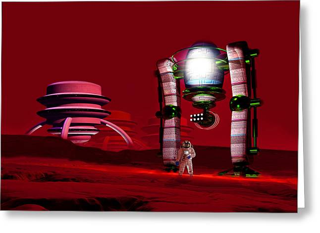 Colonisation Greeting Cards - Martian Colony Greeting Card by Victor Habbick Visions