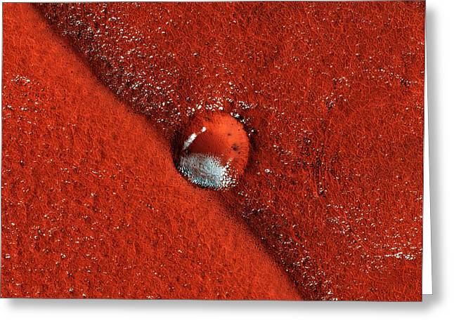 2008 Primary Greeting Cards - Martian Impact Crater, Satellite Image Greeting Card by Nasajpluniversity Of Arizona