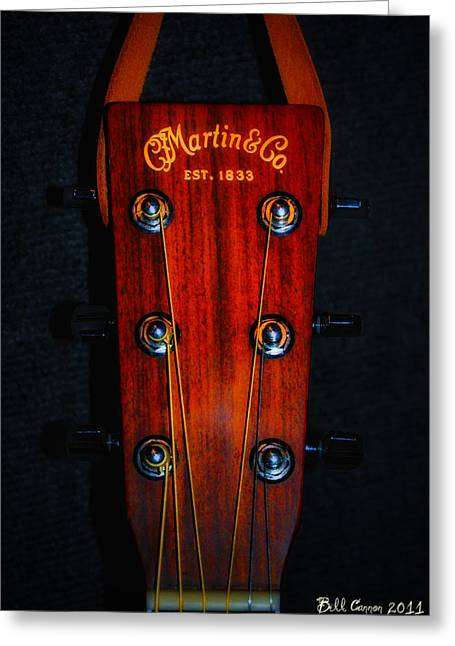 Bill Cannon Greeting Cards - Martin and Co. Headstock Greeting Card by Bill Cannon