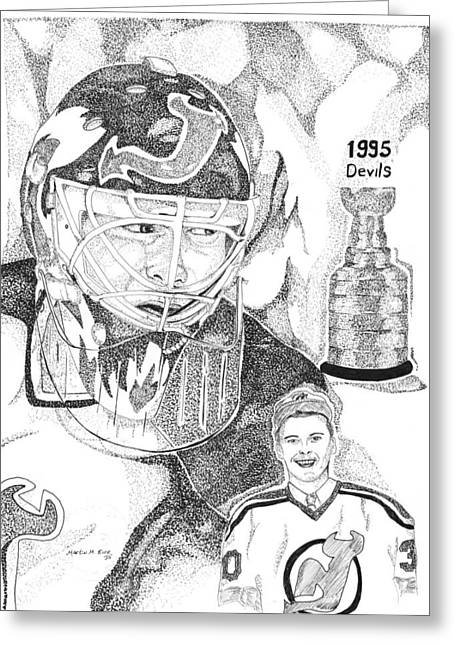 The Jersey Devil Greeting Cards - Martin Brodeur Sports Portrait Greeting Card by Marty Rice