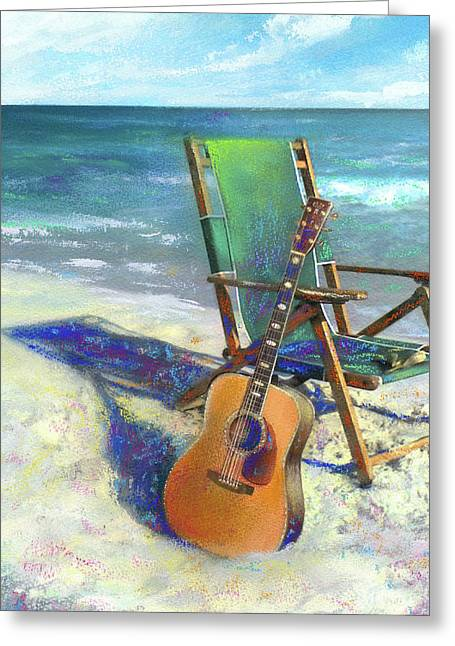 Instruments Greeting Cards - Martin Goes to the Beach Greeting Card by Andrew King