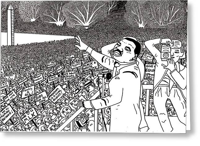 Protesters Drawings Greeting Cards - Martin luther king drawing Greeting Card by Karen Elzinga