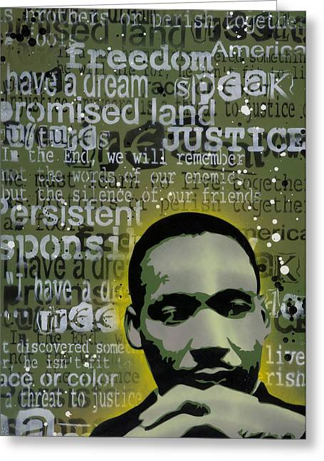 Spray Paint Art Greeting Cards - Martin Luther King Greeting Card by Iosua Tai Taeoalii