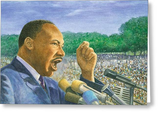 Civil Pastels Greeting Cards - Martin Luther King Jr. Speech Greeting Card by Robert Casilla