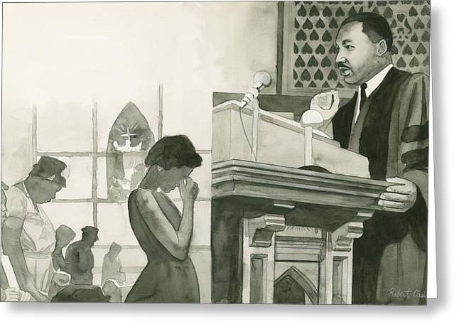 Martin Luther King on Pulpit Greeting Card by Robert Casilla