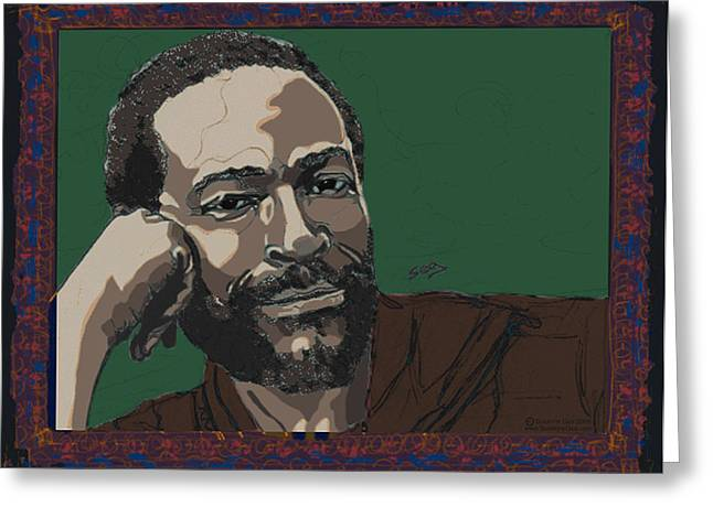 African American Drawings Greeting Cards - Marvin Gaye  Greeting Card by Suzanne Gee