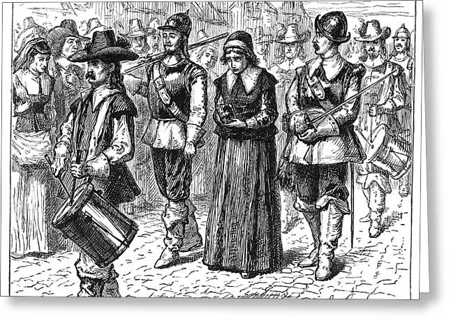 Quaker Hat Greeting Cards - MARY DYER, d.1660 Greeting Card by Granger