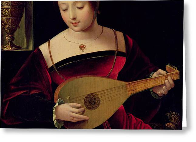 Mary Magdalene Playing the Lute Greeting Card by Master of the Female Half Lengths