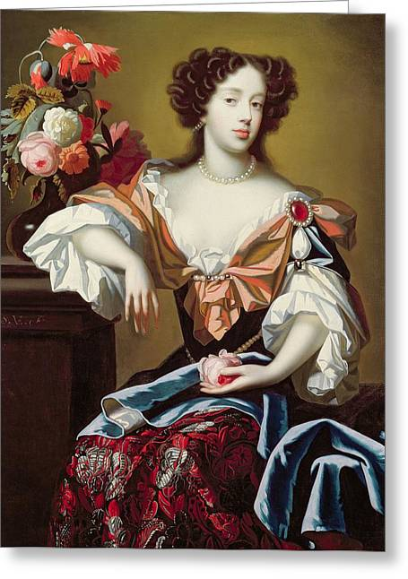 Royalty Greeting Cards - Mary of Modena  Greeting Card by Simon Peeterz Verelst