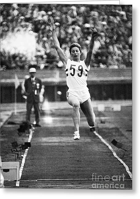 Long Jump Greeting Cards - Mary Rand (1940- ) Greeting Card by Granger