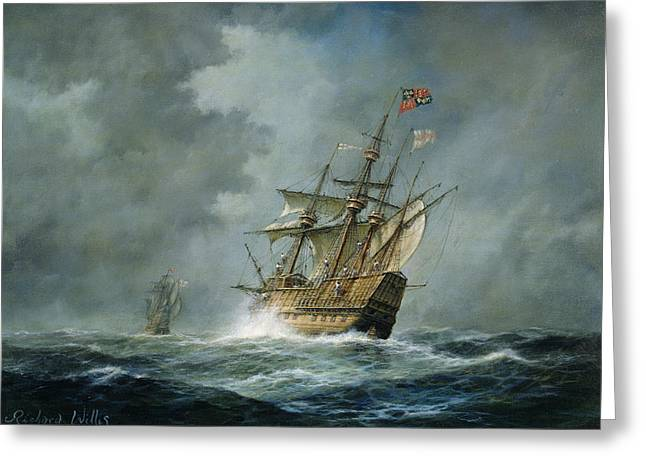 Waving Flag Greeting Cards - Mary Rose  Greeting Card by Richard Willis